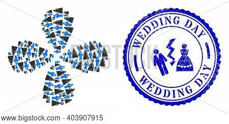 Groom With Bride Twirl Motion, And Blue Round Wedding Day Textured Stamp With Icon Inside. Object Fl