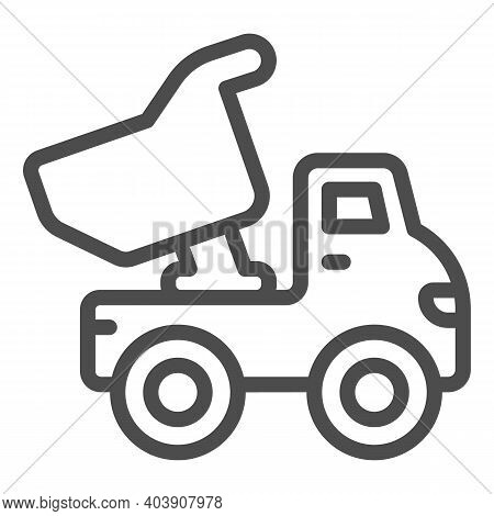 Truck Toy Line Icon, Kid Toys Concept, Plastic Dumper Sign On White Background, Building Truck Toy I