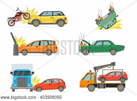 Car Crashes Set. Road Accident With Burning Car, Motorbike, Truck, Towel Truck Isolated On White Bac
