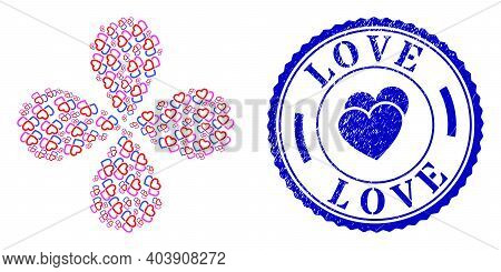 Triple Love Hearts Exploding Abstract Flower, And Blue Round Love Unclean Watermark With Icon Inside