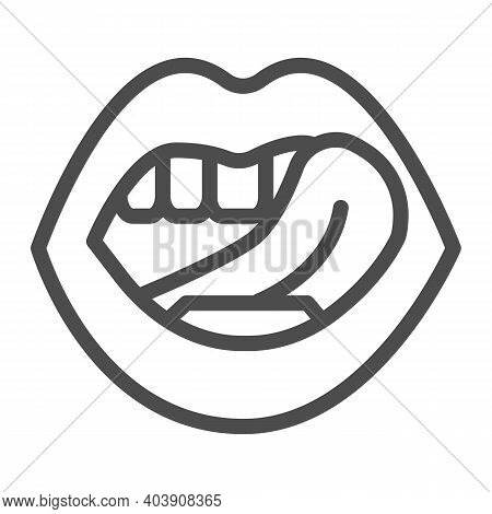 Mouth Sticking Out Tongue Line Icon, Sexuality Concept, Mouth And Tongue Sign On White Background, S