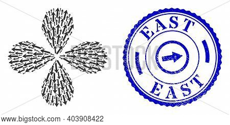 Forward Arrow Explosion Flower With Four Petals, And Blue Round East Grunge Stamp Seal With Icon Ins