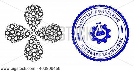 Cog Rotation Flower With Four Petals, And Blue Round Hardware Engineering Grunge Rubber Print With I