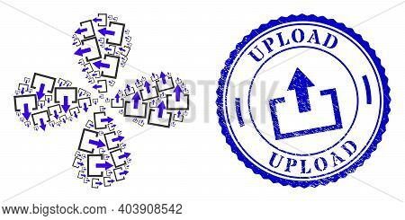 Upload Rotation Bang, And Blue Round Upload Unclean Stamp Print With Icon Inside. Element Flower Wit