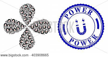 Magnetic Power Rotation Flower With Four Petals, And Blue Round Power Scratched Stamp With Icon Insi