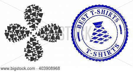 Female Dress Swirl Flower With Four Petals, And Blue Round Best T-shirts Scratched Stamp Seal With I