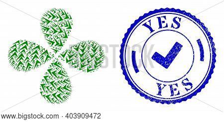 Yes Sign Swirl Flower With Four Petals, And Blue Round Yes Rough Stamp Imitation With Icon Inside. O