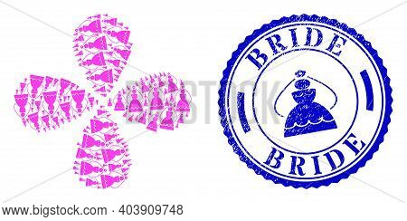 Bride Curl Flower With Four Petals, And Blue Round Bride Unclean Badge With Icon Inside. Object Cycl