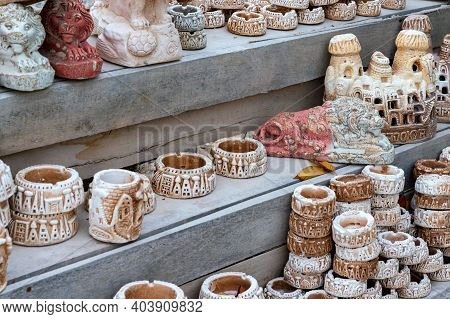 Variety Of Turkish Clay Souvenirs From Cappadocia Exposed Sale In Local Market