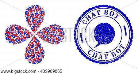 Chat Arguments Exploding Bang, And Blue Round Chat Bot Grunge Rubber Print With Icon Inside. Element