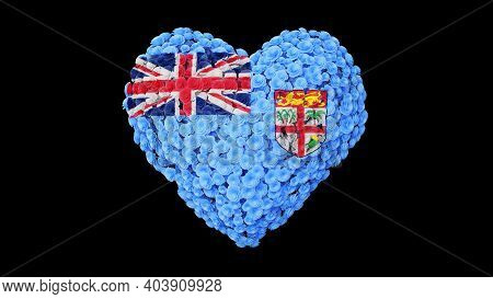 Fiji National Day. Independence Day. October 10. Heart Shape Made Out Of Flowers On Black Background