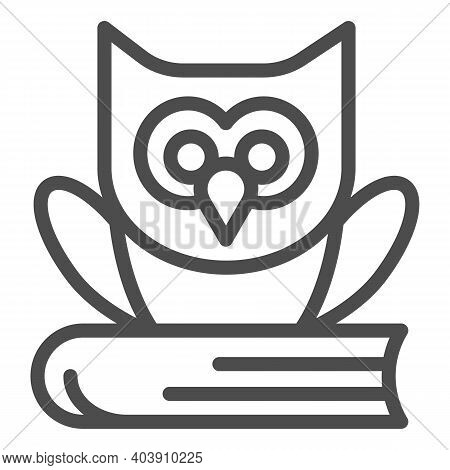 Owl Seating On The Book Line Icon, Education Concept, Owl And Book Sign On White Background, Owl And