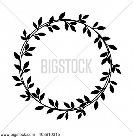 Leaves Round Frame With Leaves For Wedding And Holiday. Hand Drawn Vector Wreath. Black Floral Illus