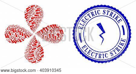 Electric Strike Centrifugal Abstract Flower, And Blue Round Electric Strike Scratched Rubber Print W