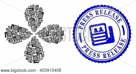 Newspaper Twirl Flower Shape, And Blue Round Press Release Unclean Stamp With Icon Inside. Element F