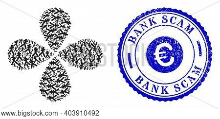 Yen Symbol Explosion Bang, And Blue Round Bank Scam Rubber Print With Icon Inside. Element Flower Do
