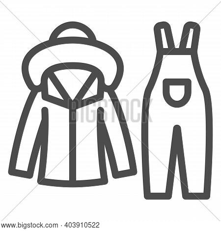 Winter Overalls Line Icon, Winter Clothes Concept, Skiing Equipment Sign On White Background, Winter
