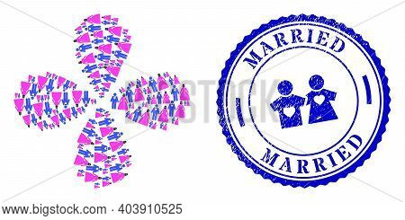 Muslim Marriage Couple Explosion Twist, And Blue Round Married Grunge Stamp Imitation With Icon Insi