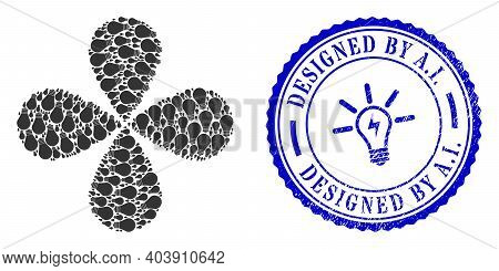 Lamp Bulb Centrifugal Flower With Four Petals, And Blue Round Designed By A.i. Textured Watermark Wi