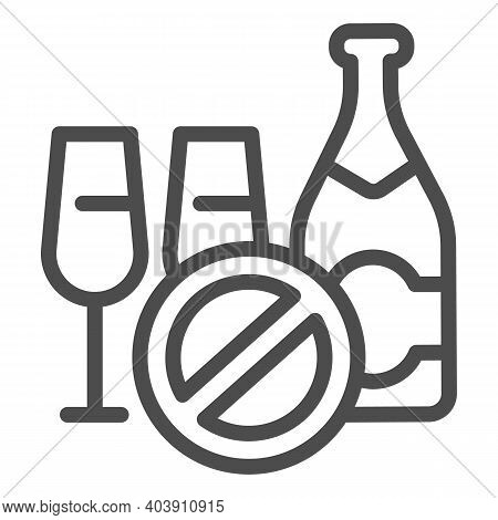 Champagne And Glasses With A Ban, Alcoholic Drink Line Icon, Ban Alcohol Concept, Champagne And Glas