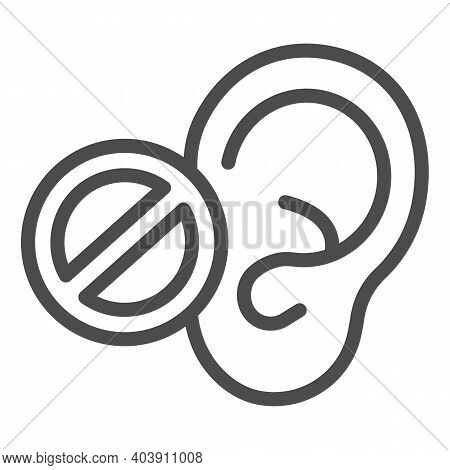 Hearing Problems Line Icon, Disability Concept, Lack Of Hearing Sign On White Background, Lack Of He