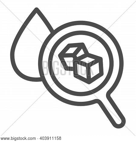 Drop Of Blood Under A Magnifying Glass, Diabetes Line Icon, Disability Concept, Diabetes Sign On Whi
