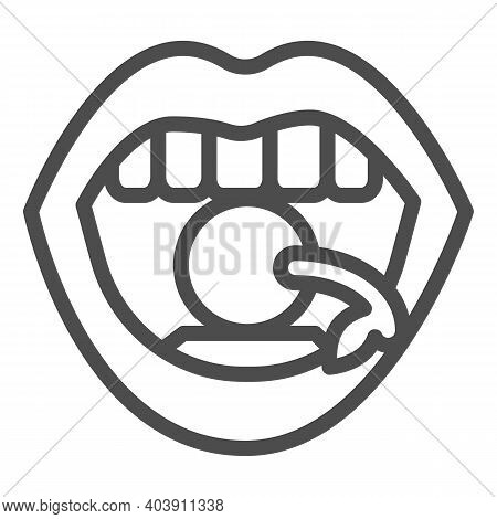 Cherry In Mouth Line Icon, Sexuality Concept, Lips With Cherry Sign On White Background, Cherry Betw