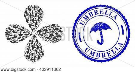 Umbrella Explosion Flower Cluster, And Blue Round Umbrella Textured Stamp With Icon Inside. Object F