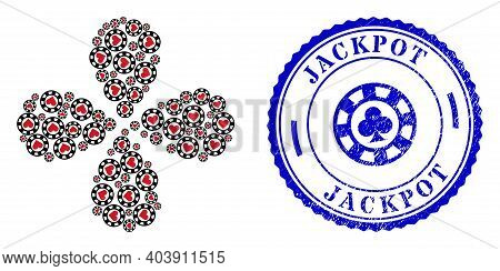 Hearts Casino Chip Exploding Flower With Four Petals, And Blue Round Jackpot Grunge Stamp Seal With