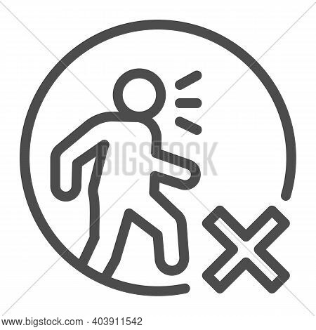 Forbidding Sick People To Go Out Line Icon, Social Distancing Concept, Do Not Walk Prohibition Sign