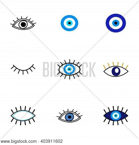 Evil Eye Protection Talisman. Collection Of Of Turkish Blue Eye-shaped Amulets, Nazar Talismans In H