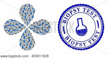 Closed Retort Rotation Flower Cluster, And Blue Round Biopsy Test Dirty Badge With Icon Inside. Obje