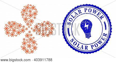 Sun Rays Twirl Flower With Four Petals, And Blue Round Solar Power Rubber Seal With Icon Inside. Obj