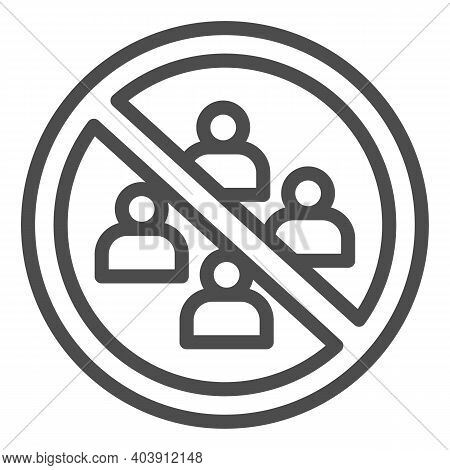 No Gathering In Group Of People Line Icon, Social Distancing Concept, Avoid Crowds Sign On White Bac
