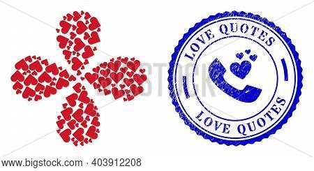 Playing Card Heart Suit Curl Bang, And Blue Round Love Quotes Textured Stamp Imitation With Icon Ins