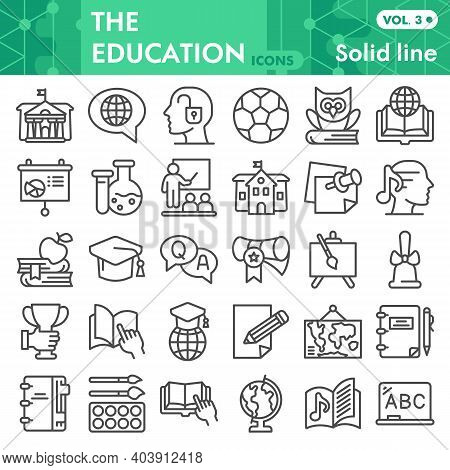 Education Line Icon Set, High Level Of Education Symbols Collection Or Sketches. The Acquisition Of
