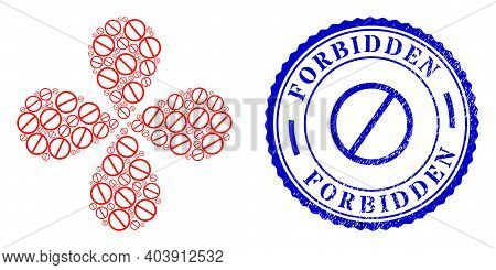 Forbidden Curl Flower With Four Petals, And Blue Round Forbidden Rubber Print With Icon Inside. Elem