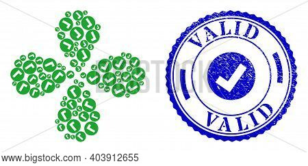 Valid Exploding Abstract Flower, And Blue Round Valid Grunge Stamp Print With Icon Inside. Object Fl