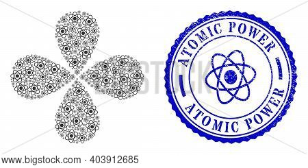 Atom Rotation Flower With Four Petals, And Blue Round Atomic Power Rubber Print With Icon Inside. El
