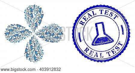 Reaction Flask Swirl Flower Cluster, And Blue Round Real Test Textured Watermark With Icon Inside. O