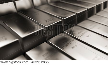 Realistic Platinum Ingots, Bars Abstract Background For Finance 3d Rendering