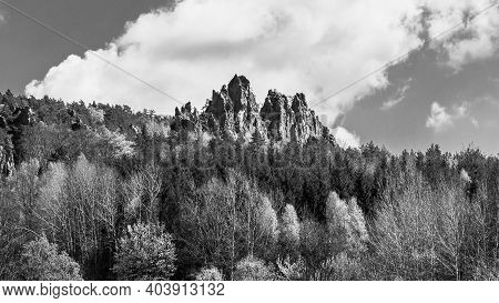 Monumental Sandstone Ridge Of Suche Skaly, Aka Dry Rocks, Near Mala Skala In Bohemian Paradise, Czec