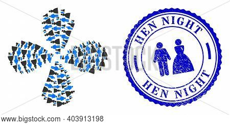 Wedding Couple Twirl Flower Cluster, And Blue Round Hen Night Dirty Stamp Imitation With Icon Inside