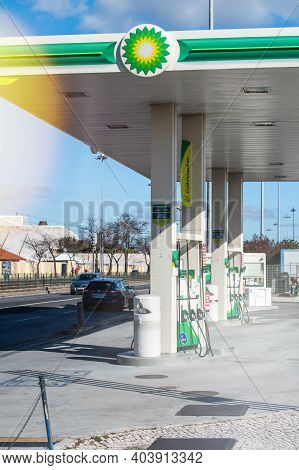 Lisbon, Portugal - Feb 10, 2018: Front View Of Bp British Petroleum Gas Station With No Customers On
