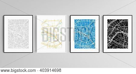 Realistic Vector Set Of Picture Frames In A4 Format Isolated On Gray Background With Urban City Map