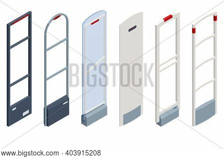 Isometric Anti Theft System. Eas Anti-theft Sensor Gate. Anti Theft Gates For Indoor. Preventing Sho
