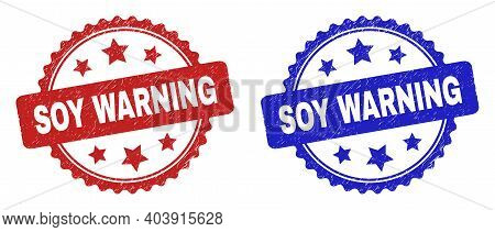 Rosette Soy Warning Seal Stamps. Flat Vector Scratched Seal Stamps With Soy Warning Text Inside Rose
