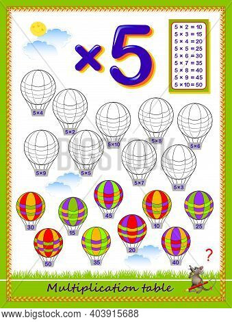 Multiplication Table By 5 For Kids. Solve Examples And Paint The Balloons. Educational Page For Scho