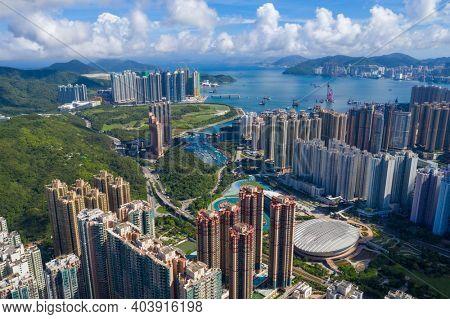 Tseung kwan o, Hong Kong 12 June 2020: Aerial view of Hong Kong city