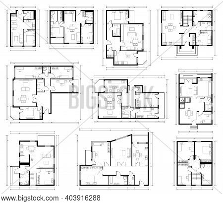 Architecture Design, Blueprint Plan. Set Of Different Black And White House Floor Plans Isolated On